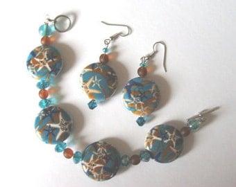 Starfish Jewelry,Starfisk Bracelet And Earrings Set,Beach Girl,Ceramic Beaded Bracelet,Mothers Day Gift,Cruise Resort Jewelry,Bohemian