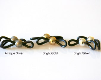 Beaded Eyeglass Loops - Bright Silver, Antique Silver or Bright Gold