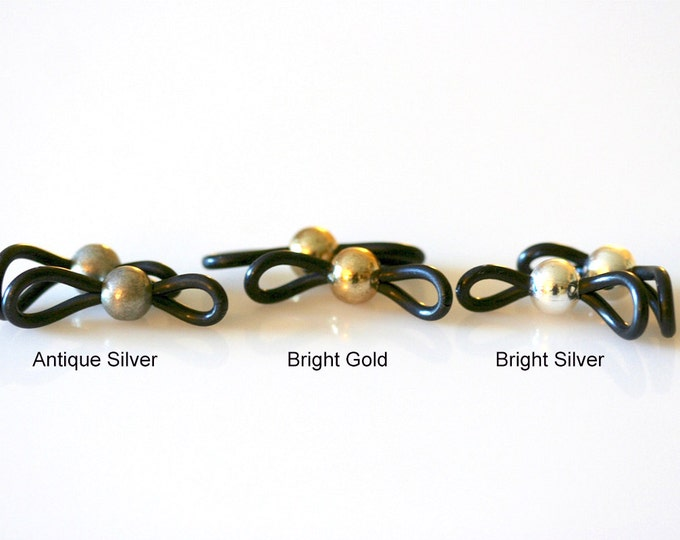 CUSTOM LISTING: Beaded Eyeglass Loops - Bright Silver, Antique Silver or Bright Gold