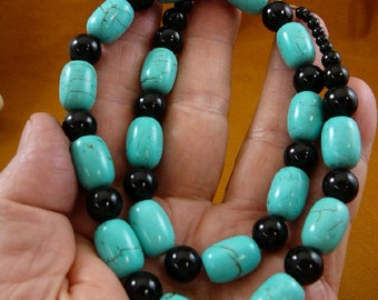 18 inch long 16x11 mm Chinese turquoise and black Onyx gemstone Beads bead beaded Necklace jewelry V326-91