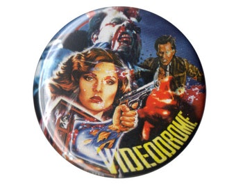"Videodrome cult movie film David Cronenberg horror button pin pinback badge 1.5"" ONE & a HALF INCH handmade homemade magnet"