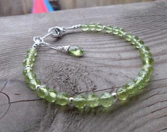 Natural Unheated Peridot Sterling Silver Birthstone Gemstone Bracelet