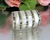 Vintage MOP MARCASITE STERLING Ring Silver Large Modern Statement Design Sz 6.25