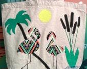 Flamingoes on reusable, organic cotton tote bag