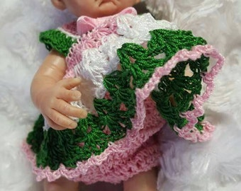 Custom made to order dress , panties and headband for your polymer clay baby