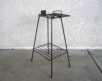 Vintage Mid Century Wire Telephone / Magazine Side Table in Black. Circa 1950's - 1960's.