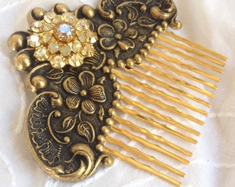 Bronze Floral Gold Swarovski Crystal Hair Comb
