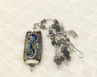 ValVaaniaLampwork Sterling Silver and Labradorite Gems Wire Wrapped Long Necklace with SEAHORSE Lampwork