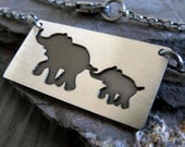 Elephant necklace. Sterling silver mom and baby pendant.  Rustic good luck jewelry. Family necklace. Gift for new mom. Unique handmade.