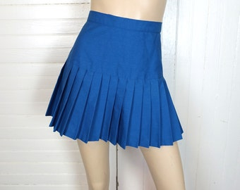 Royal Blue Pleated Mini Skirt- 1970s Tennis / Cheerleader / Cosplay- 70s