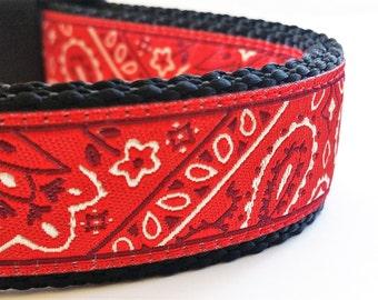 Red Bandana - Dog Collar / Handmade / Adjustable / Dog collars / Large Dog Collar / Gift Idea / Pet Lover