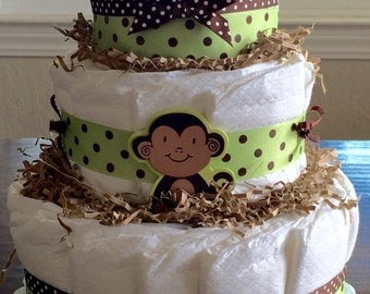 Monkey Diaper Cake, Layered Diapers Baby Gift, Decorated Cake made of Diapers, Monkey theme baby shower Centerpiece