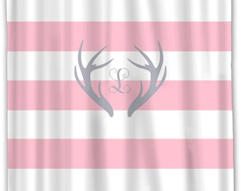 Custom Personalized Deer Antler Shower Curtain -Simple Horizontal Stripes in your colors  -Standard or ExLong