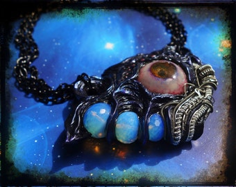 Chunky Alien Tech necklace wire wrapped polymer clay eye sculpture
