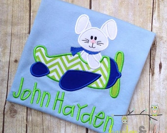 Easter Bunny Airplane Applique Shirt - Personalized, Monogrammed