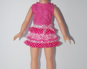 """Dark Pink lacy Dress Doll Clothes TKCT702 handmade Corolle 13"""" Les Cheries or 14"""" Heart for Hearts READY TO SHIP"""