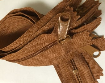 SALE - Light brown 12 inch YKK Handbag Purse zippers with long pull - YKK color 086