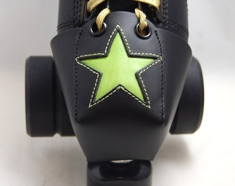Leather Toe Guards with Lime Green Stars