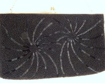 Vintage black beaded Clutch, 1950s formal clutch,  Perfect condition,  includes gold chain