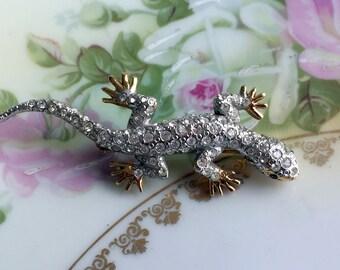 Vintage CAROLEE Crystal Rhinestone Lizard Reptile Pin Brooch