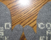 Deniese's Order Mature Mittens Hand Knit Cold as F**K Gray Wool Mittens Womans Free US Shipping