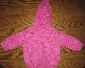 Baby Sweater Hand Knit Cardigan With Hood 6 to 12 Months Acrylic Pink Shades Free US Shipping