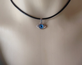 Evil eye pendant necklace - black leather cord  - Greek jewelry - Protection