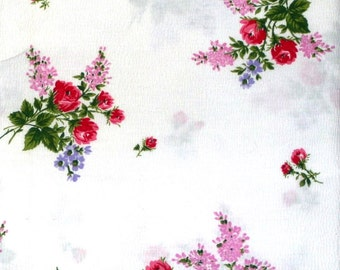 Vintage Cotton Fabric with Rose Bouquet 2 Yards