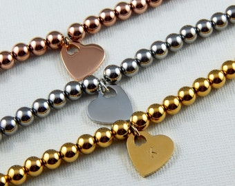 Personalized initial Heart Bracelet,Choose Gold Rose Gold Or Silver
