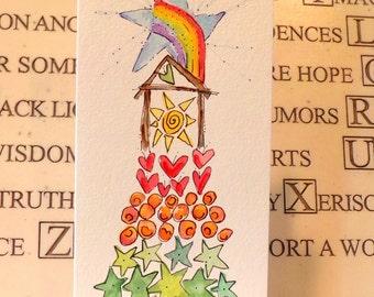 "Christmas Manger Rainbow Christmas Tree Watercolor Original  Slim Card 3 7/8"" x 9""  With  Envelope  Blank Inside betrueoriginals"