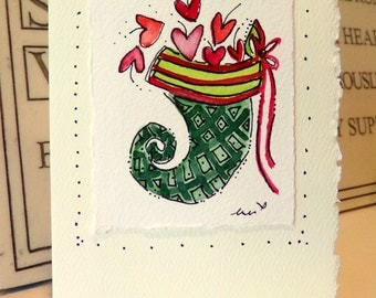 "Christmas Card ""Love Stocking"" Watercolor Original Little Card ""3.5"" x 4.78"" With Matching Envelope"