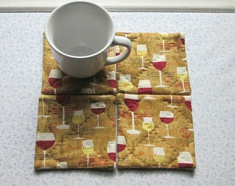 brown wine set of mug rugs