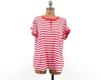 SALE vintage RED + WHITE candy striped knit blouse top S-L