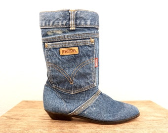 vintage 80s unique DENIM blue jean POCKET flat boots, size 9.5 us 40 eur