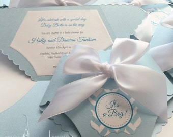 Folded Diaper Invitation with Satin Bow on Pearlescent Card stock - Baby Boy Diaper Invitation