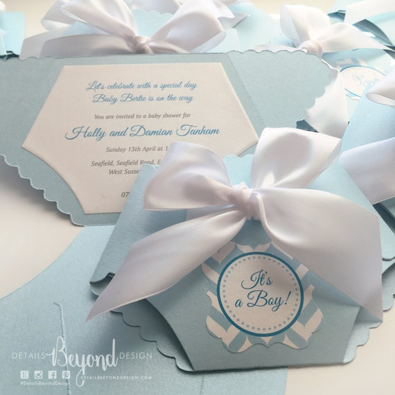 Folded Diaper Invitation With Satin Bow On Pearlescent Card Stock