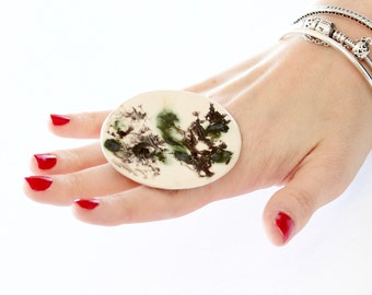Ceramic Ring, Statement Cocktail Ring - big ring,  bold ring, unique ring, large ring, handmade ring by StudioLeanne