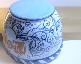 clearance sale - Majolica hand painted ceramic bowl vase - for Mom - made from terracotta - blue and white