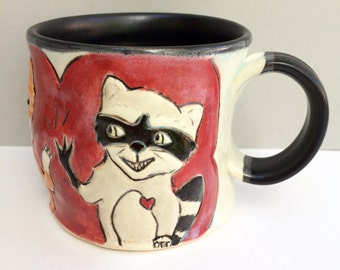 "Animal Mug, Fox and Raccoon BFFs Red Coffee Mug or Tea Mug, Animal Pottery with Woodland Animals, ""High Five"""