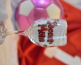 PERSONALIZED Soccer Mom Wine Glass, Hand Painted Custom Glass, Soccer Aunt, Soccer Grandma, Gift, Soccer Ball, Baseball, Softball, Sports