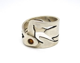 Sterling Silver Wrap Ring Birds and Citrine Sun