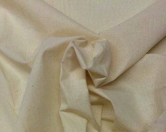 """Muslin Natural 100% Cotton Heavy Quality Unbleached Fabric Sold By The Yard 44"""" Wide"""