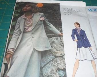 Vogue 2825  Vintage 70's  Jacket, Skirt,Shirt and Scarf by American Designer Anne Klein Size 14