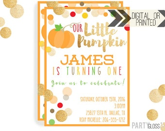 Pumpkin Invitation | Digital or Printed | Pumpkin Party | Glitter Pumpkin Invite | Fall Pumpkin | Gold Glitter Invitation | Little Pumpkin