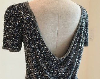 Black Tie Oleg Cassini Navy Blue and Silver Beaded Cocktail Dress - Sexy Draped Back - Flashy Sparkly Shiny Silver Sequin - 36 Bust
