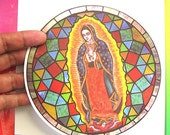 our Lady of Guadalupe Stained Glass decal windows Glass-door Suncatcher mexican virgin VIRGEN MEXICANA olog