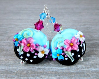Polka Dot Floral Dangle Earrings, Turquoise Blue Pink Black White Glass Earrings, Lampwork Earrings, Whimsical Jewelry Cottage Chic Earrings
