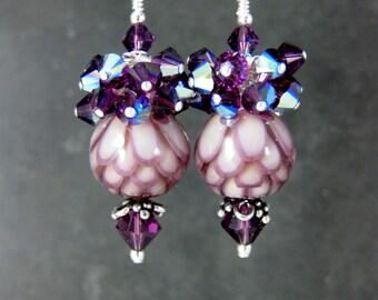 Purple & Pink Lotus Earrings, Amethyst Crystal Cluster Drop Earrings, Water Lily Earrings Flower Earrings Botanical Earrings Floral Lampwork