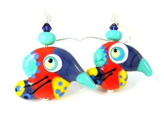 Funny Bird Dangle Earrings, Colorful Funky Glass Earrings, Unique Earrings, Animal Earrings, Multicolor Statement Earrings Lampwork Earrings