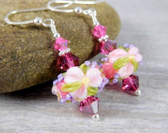 Light Pink Floral Glass & Crystal Dangle Earrings, Baby Pink Flower Earrings, Botanical Earrings, Nature Lampwork Earrings, Romantic Jewelry